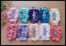 2014 hot sell cluster rhinestone oval chiffon hair flowers for girls,rhinestone flower for garment
