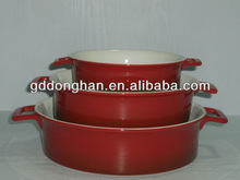 chaozhou hand-painted microwave safe 100% food grade wholesale customized ceramic microwave oven bakeware with handles