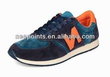 Men sport shoes with leather upper and rubber outsole