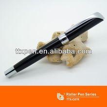 Shiny chrome clip metal roller ballpoint pen