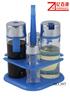 Glass cruet set with blue plastic stand
