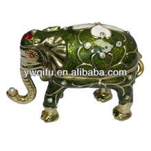 2015 China wholesale new Indian crystal enamel elephant metal craft jewelry trinket box gift craft item decoration (QF2478)