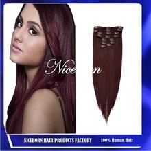 Perfect #99j malaysian hair weave clip in hair extension malaysian virgin hair
