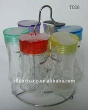 6pcs glass herb jars with metal rack T026