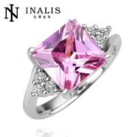 Lovely pink stone 18k white gold ring