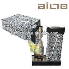 customized luxury vintage leather printed display white wine box