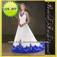 Hot Sale Long Noble Satin Halter V-neck Embroidery Royal Blue And White Wedding Dresses