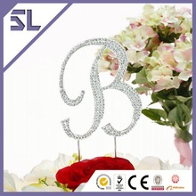 Initial letter e monogram personalized wedding crystal rhinestone cake birthday party stage decorations cheap cake toppers