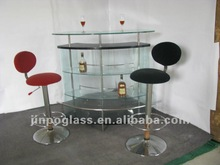 glass bar table with shelves