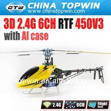 450V3 2.4G 6CH RTF RC electric helicopter with Al case new toys for 2013 new helicopter for sale rc helicopter 6ch titan 450 pro