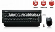 2.4g RF black colour high quality optical wireless mouse and keyboard combo
