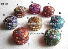 Lac Glitter Mirrored Trinket Jewelry Box Indian Pill Box Handmade Handicrafts Jewelry Gift Box Manufacturer