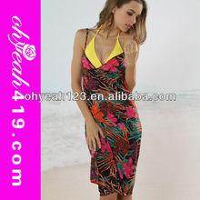 Hot wholesale sexy floral brazilian women tankini sarong tenun