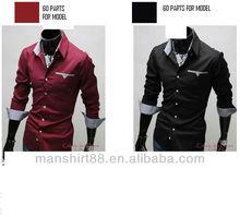 Moderna de la camisa doble manguito manga larga casual slim fit camisa para hombre