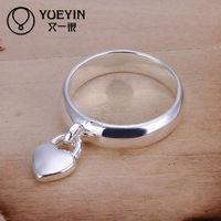 Unique design silver heart charm ring