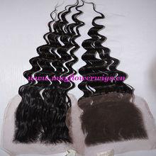 lace closure loose deep wave/super wave bleached knots virgin hair fine lace
