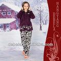 Hiver tricot moelleux imprimés/flanelle pyjama dames femmequalité ensemble deux pièces de style dinde