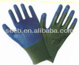 13G green nylon / polyester blue nitrile gloves