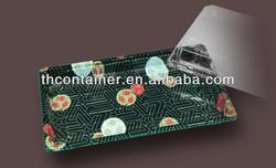 Disposable plastic sushi container