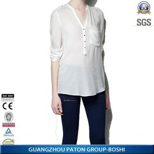 Stylish&Fashion Solid Color Long Sleeve Women's Casual Shirts with Good Quality and Good Price