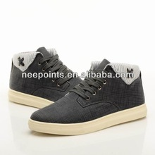 high quality men sneaker with rubber outsole and high cut canvas shoes