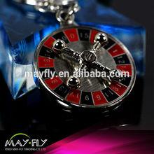 Casino promotional gift lucky big wheel metal key chains/Digital roulette key chain/customize logo metal key chain