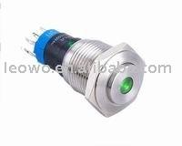 LED illuminated metal pushbutton 16mm diameter