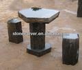 natural negro al aire libre de cerveza hexagonal de piedra del jardín mesas y bancos