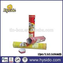 Metal color pencil tube tin color pencil box for 12pcs