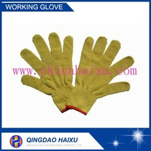 Safety equipment 10 gauge yellow industrial leather knittde hand gloves
