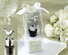 Personalized silver love bird design wine bottle stopper wedding favors