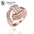 Rosa de oro anillo de la joyería, de cristal de joyería anillo de compromiso, 18k chapado en oro anillo de la joyería para las mujeres r081