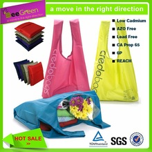 190T Polyester reusable bag/wholesale reusable shopping bag with foldable pouch