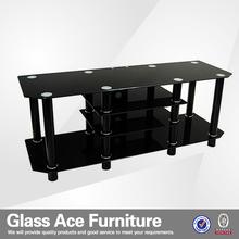 2015 New design Black Glass Lcd Plasma TV Stand