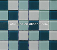 Foshan factory price blue and white crystal glass mosaic tile pattern for swimming pool