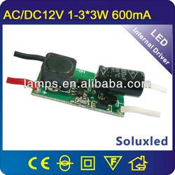 12v ac/dc input 1-3*3w led power supply