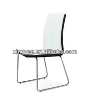 contemporary modern living room chromed stainless steel frame black white PU leather dining chair