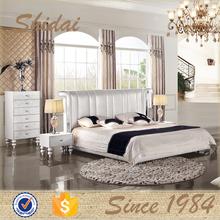 modern china genuine leather soft bed for bedroom furniture set LV-B9016RE