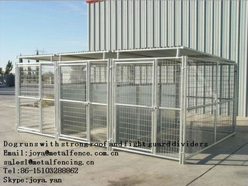 3 runs 5'x10'x6' dog kennels with solid roof and fight guard dividers