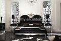 Alibaba hotel móveis/design elegante jogo de quarto/moldura de madeira sólida cama de tecido macio/francês estilo suave e real cama queen hy-b3001