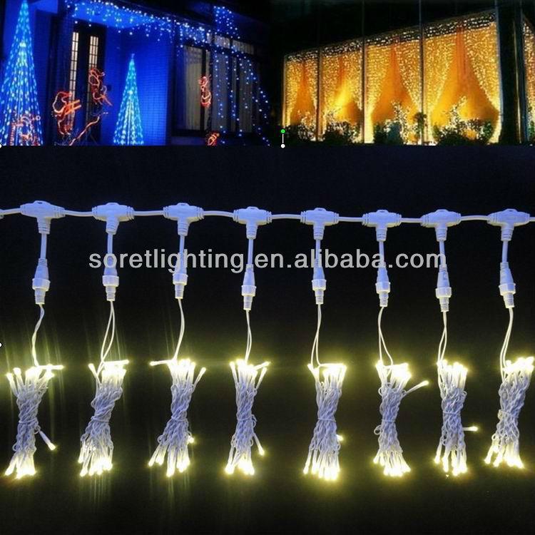 防水ゴムケーブル接続可能なクリスマスledカーテンライト結婚式の装飾のための