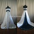 Amostra real strapless uma- linha de bordar pragant mulheres azul royal e branco vestidos de noiva