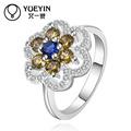 Hechos a mano exquisito níquel y sin plomo en forma de flor 925 anillo de la piedra preciosa