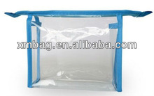 blank mini clear pvc cosmetic bags with binding