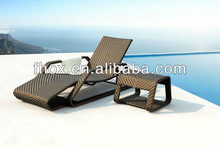Outdoor relaxing rattan day bed/wicker daybed/rattan sun lounger with aluminum frame and powder coated