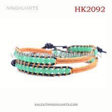 2 wrap braided jade/leather wrap/wrap beaded China Manufacturer bracelet