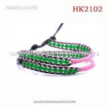 2 wrap hand braided jade/wrap beaded/chan China Manufacturer bracelet