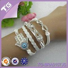 Infinity Hamas Crystal with Rhinestone White Handmade Weave African Leather Bracelets