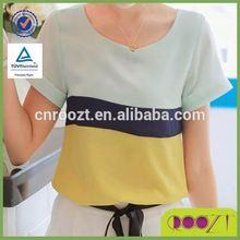 2012 summer new chiffon shirt blouses Korean hit color chiffon shirt short-sleeved T-shirt femal