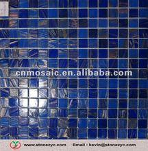 Dark Blue Kitchen Tile With Golden Line